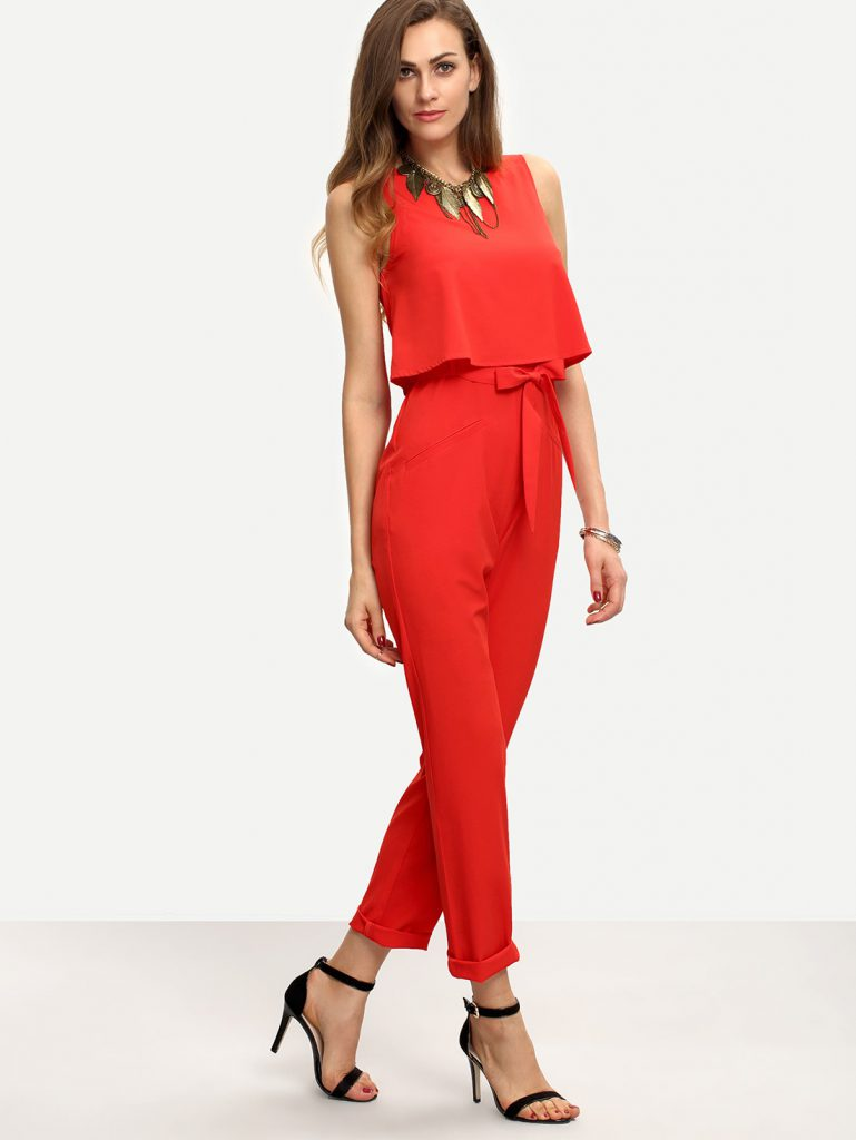 Romwe Sleeveless Bow Tie Waist Jumpsuit