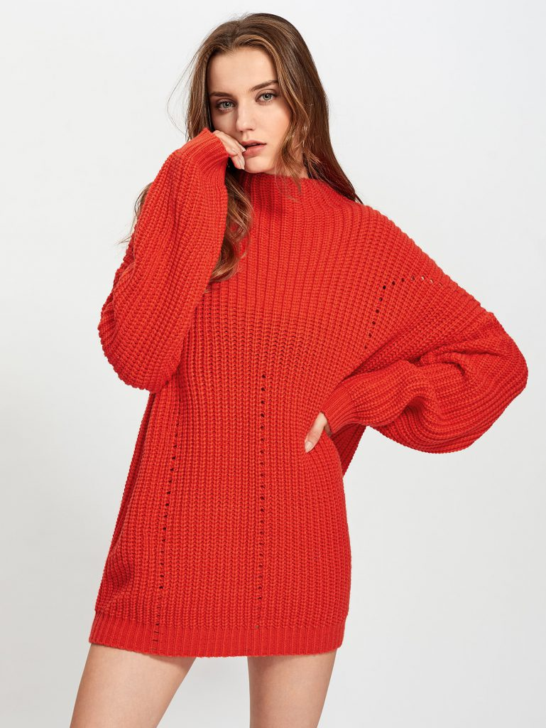 Romwe Exaggerate Long Sleeve Eyelet Detail Jumper