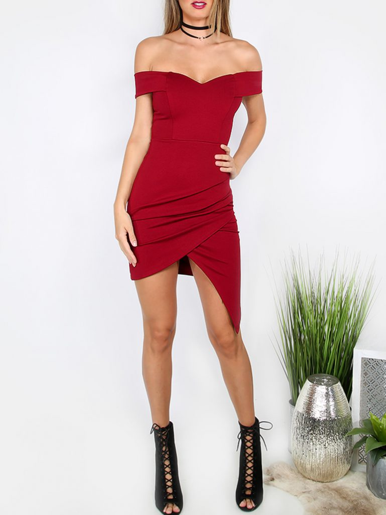 Romwe Sweetheart Off Shoulder Asymmetrical Bodycon Dress