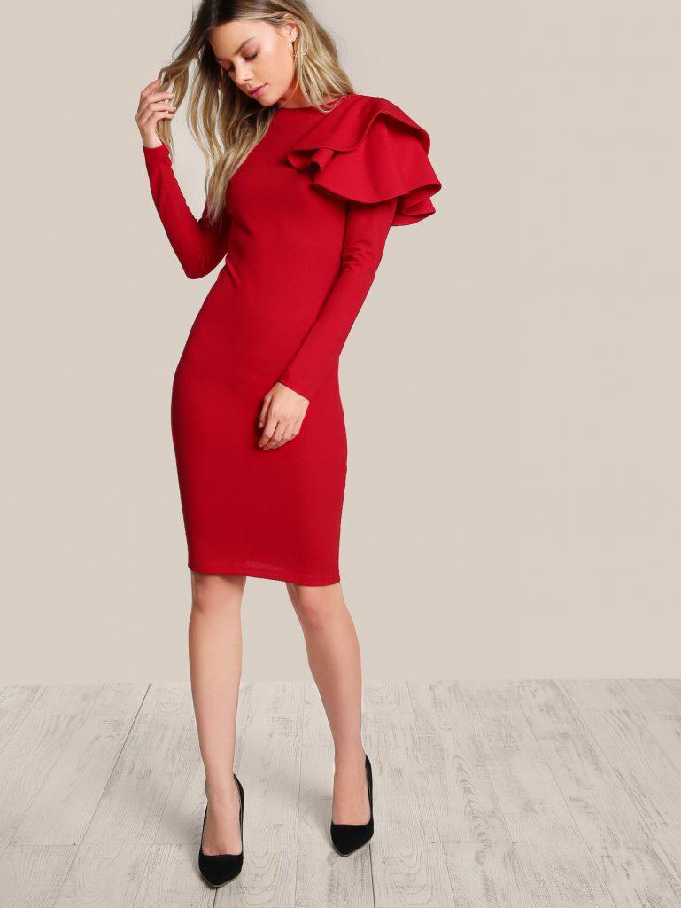 Romwe One Side Tiered Ruffle Trim Dress