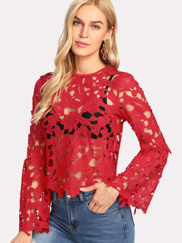 Flounce Sleeve Guipure Lace Top