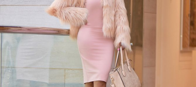 Fall/Winter Style: Pink Faux Fur Coat + Pink Dress