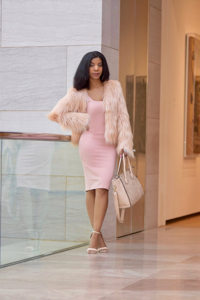 SheIn Pink Faux Fur Coat, Forever21 Pink Midi Dress, Amiclubewear Nude Rose Embroidered Heels, Nude Satchel