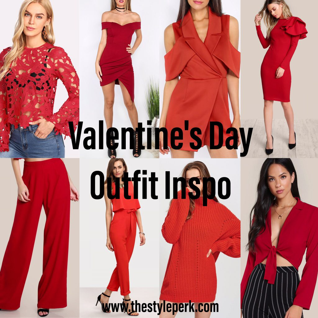Valentine's Day Outfit Inspo, Romwe, Red Outfit Ideas, Red Dress, Red Sweater, Red Blouse