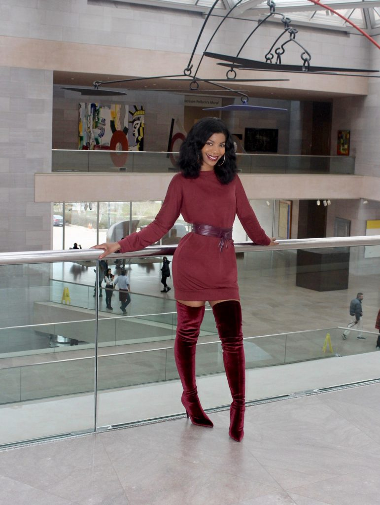 Ego Alabama Long Boots Maroon, Burgundy Dress, Deep Plum Purse, Burgundy Waist Belt, Wine Monochrome Outfit