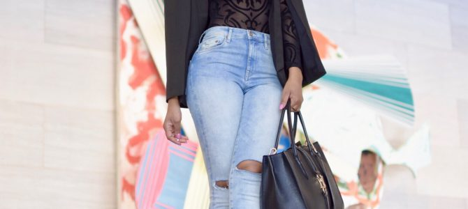 Fall/Winter Style: Black Cape + Black See Through Body Suit + Distressed Denim
