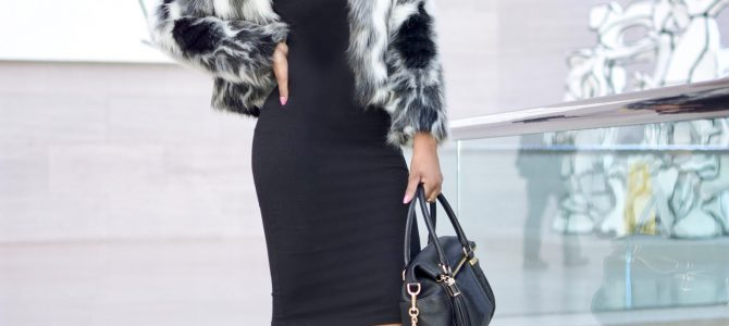 Winter Style: SheIn Black and White Faux Fur Coat + Black Midi Dress + Ego Lace Up Booties