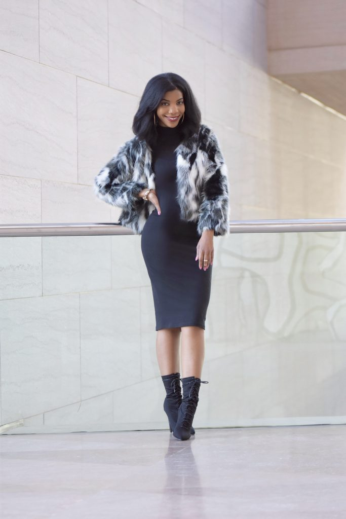 SheIn Black and White Color Block Faux Fur Coat, Forever 21 Black Mockneck Turtleneck Dress, Ego Black Lace Up Booties