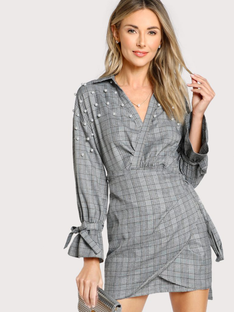 Romwe Gray Printed Pearl Detail Bell Cuff Plaid Wrap Dress