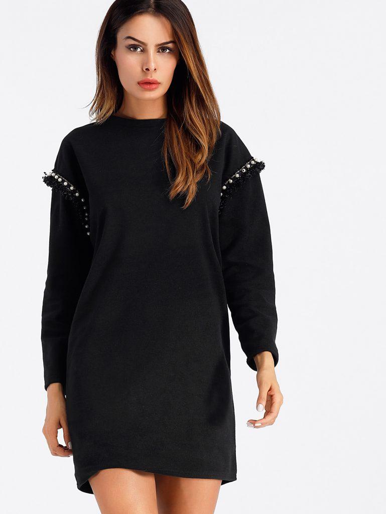 Romwe Black Faux Pearl Detail Dress