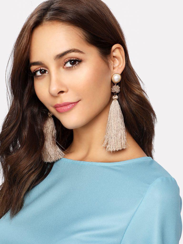 Romwe Faux Pearl Top Tassel Drop Earrings