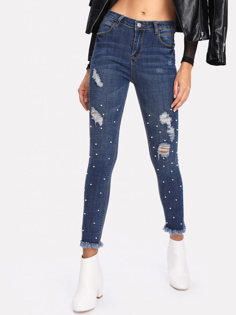 Romwe Faux Pearl Raw Hem Ripped Jeans