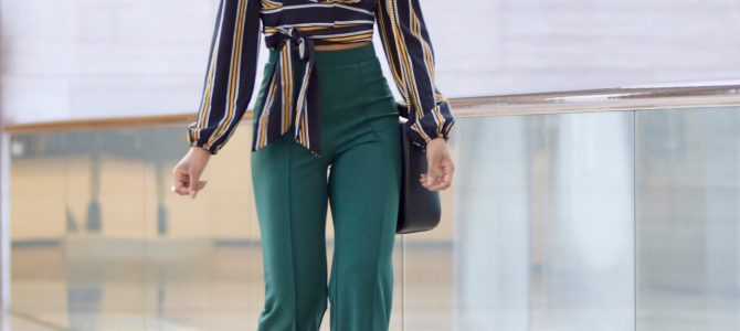 Fall/Winter Style: Striped Wrap Crop Top + Green High Waist Pants
