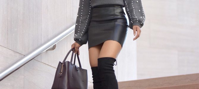 Fall/Winter Style: Gray Pearl Embellished Sweater + Vegan Leather Skirt + Black OTK Boots