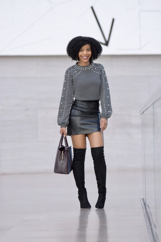 Romwe Gray Bishop Sleeve Pearl Beading Crop Sweater, H&M Black Faux Leather Skirt Steve Madden Black OTK Boots