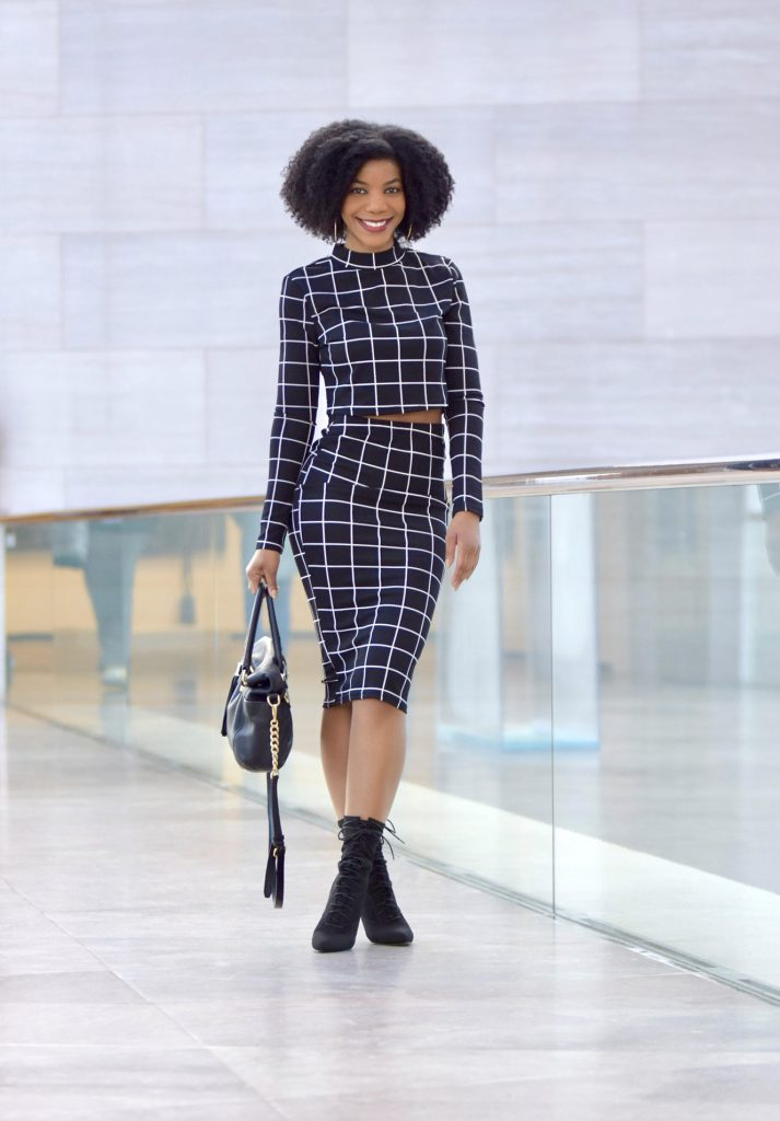 SHEIN Crop Grid Top Pencil Skirt Co-Ord, Ego Cosmic Lace Up Ankle Boot In Black Knit