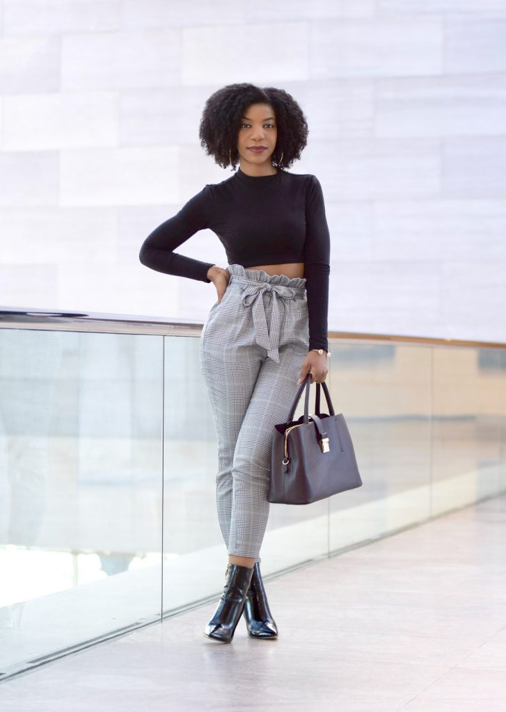 SHEIN Ruffle Waist Self Belt Plaid Peg Pants, Simmi Jelana Patent Leather Ankle Boots Black, Forever21 Black Crop Top, H&M Burgundy Satchel