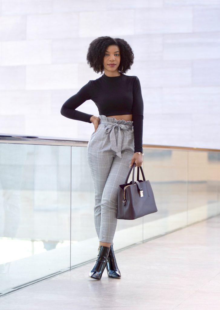 SHEIN Ruffle Waist Self Belt Plaid Peg Pants, Simmi Jelana Patent Leather Ankle Boots Black, Forever21 Black Crop Top, H&M Burgundy Satchel