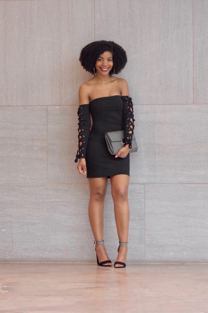 Tobi DANIELLE BLACK LACE UP BODYCON DRESS, Amiclubwear Black and White Single Sole Chunky Heels