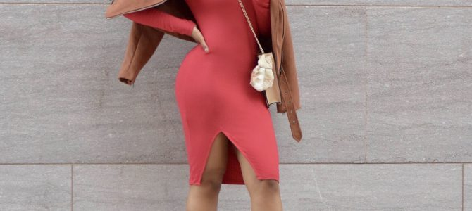 Fall/Winter Style: Tobi Red Midi Dress + Nude Floral Embroidered Heels