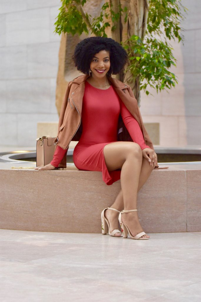 Tobi VENE RED MIDI DRESS, Amiclubwear Nude Floral Embroidered Sandals, Zara Nude Gold Chain Purse