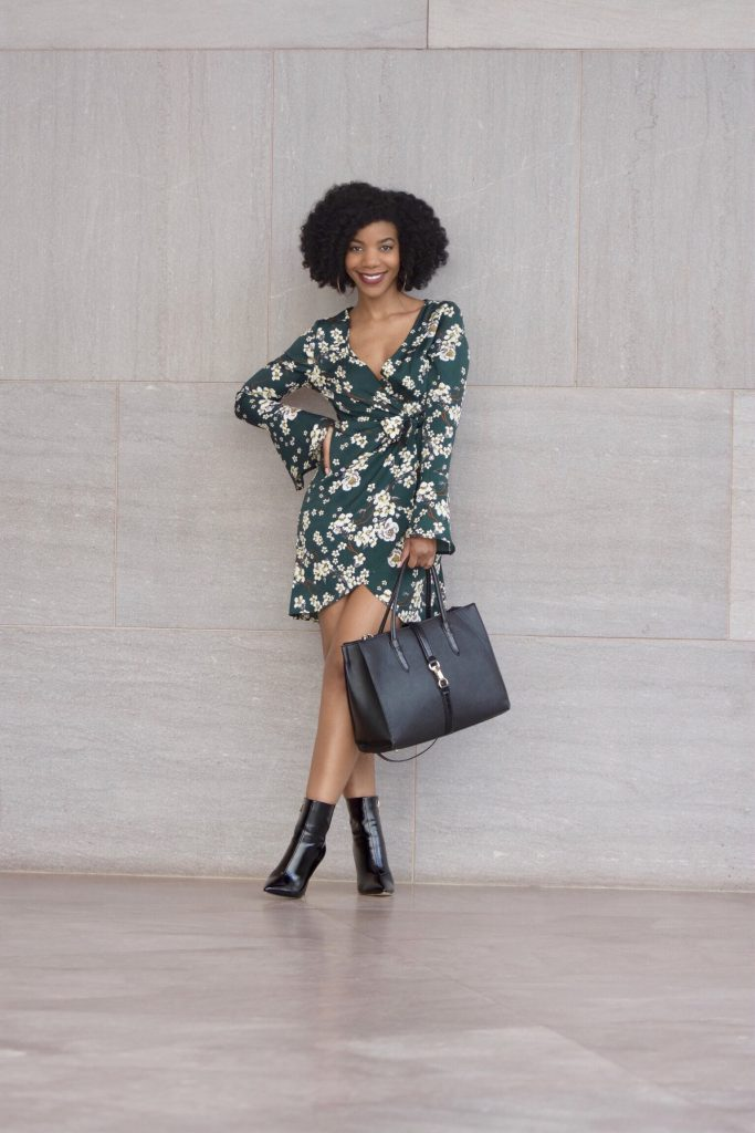 SHEIN Bell Sleeve Surplice Wrap Floral Dress, SIMMI Black Booties