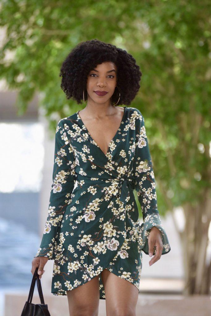 SHEIN Bell Sleeve Surplice Wrap Floral Dress, SIMMI Black Booties