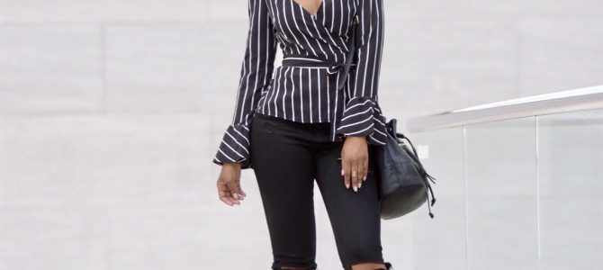 Spring Style:  Romwe Flute Sleeve Striped Top + Black Ripped Jeans