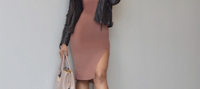 Spring Style: Romwe Bodycon Deep V-Neck Midi Dress + Leather Jacket + Booties