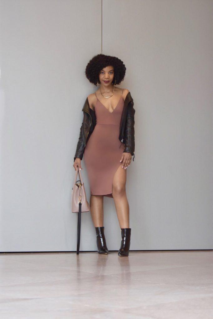 Romwe V-Neck Bodycon Slit Dress, Topshop Leather Moto Jacket, SIMMI Black Booties
