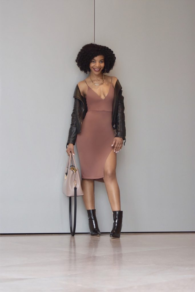 Romwe V-Neck Bodycon Slit Dress, Topshop Leather Moto Jacket, SIMMI Black Booties