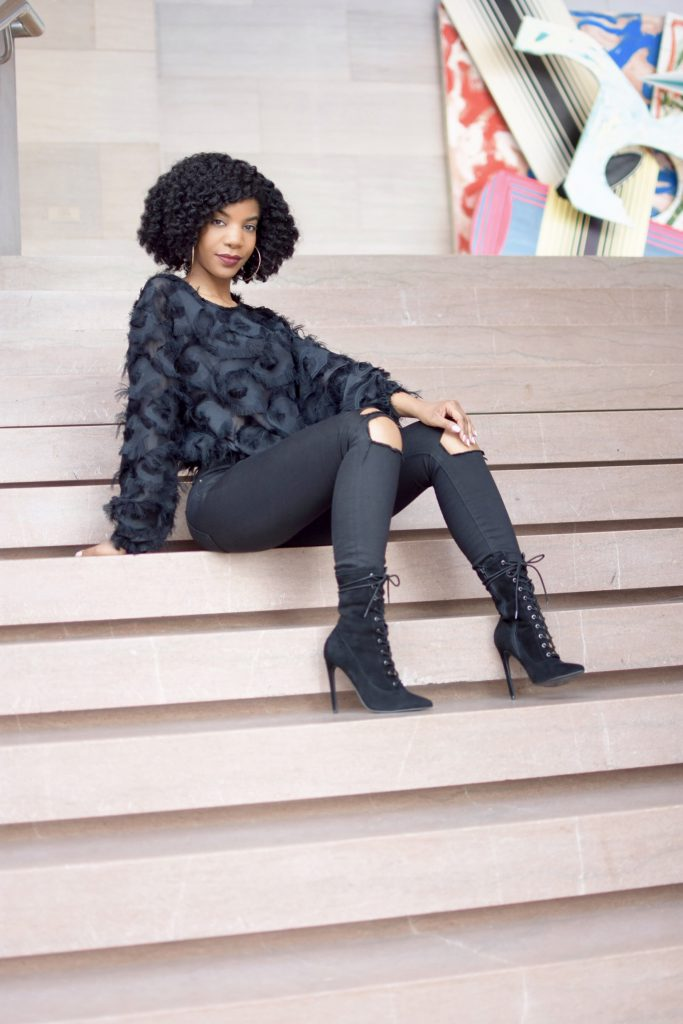 Black SHEIN Fringe Patch Mesh Top, Black Asos Ripped Jeans, Black Steve Madden Lace Up Booties