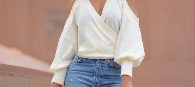 Fall/Winter Style: Tobi Cold Shoulder Wrap Sweater + Distressed Denim Jeans