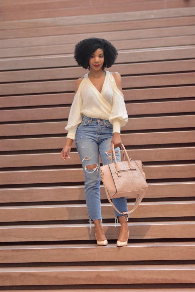 Tobi Cream Wrap Sweater, H&M Distressed Straight Leg Jeans, Steve Madden Nude Pumps, Tobi Cream Bare Bones Cold Shoulder Blouse