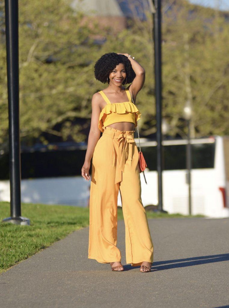 Forever21 Yellow Ruffle Crop Top, SheIn Yellow Palazzo Pants, Orange Chain Link Clutch