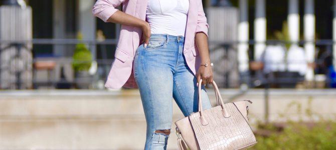 Spring Style: SheIn Pink Shawl Collar Blazer + Ripped Denim