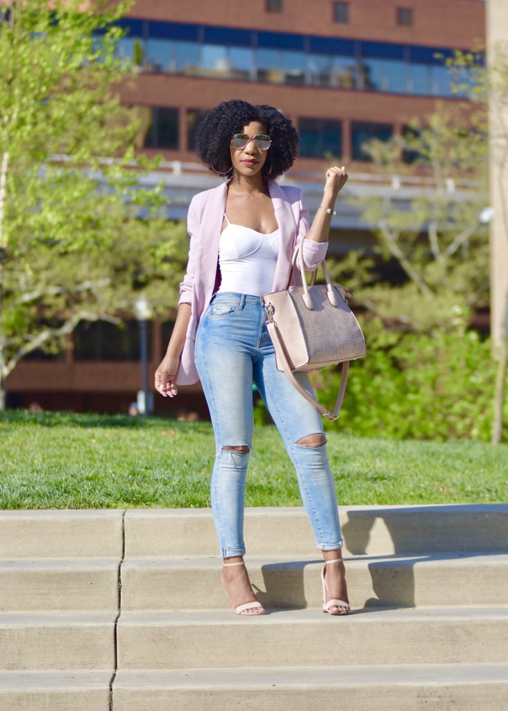 SheIn Pink Shawl Collar Blazer, H&M Ripped High Waist Jeans, Amiclubwear Nude Sandals, Nude Satchel with Strap
