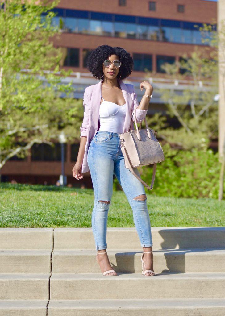 SheIn Pink Shawl Collar Blazer, H&M Ripped High Waist Jeans, Amiclubwear Nude Sandals2