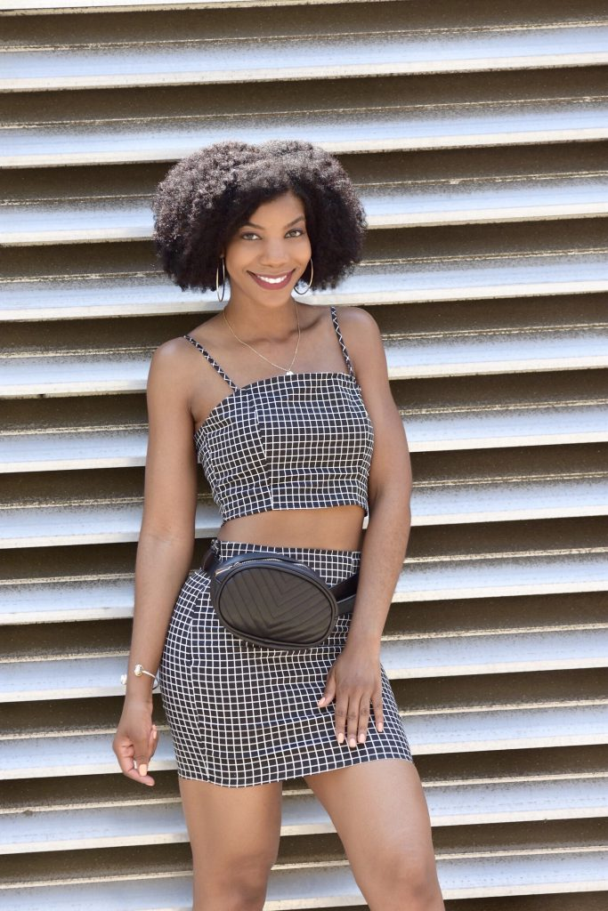 SHEIN Black and White Grid Print Zip Back Cami Top And Skirt Co-Ord