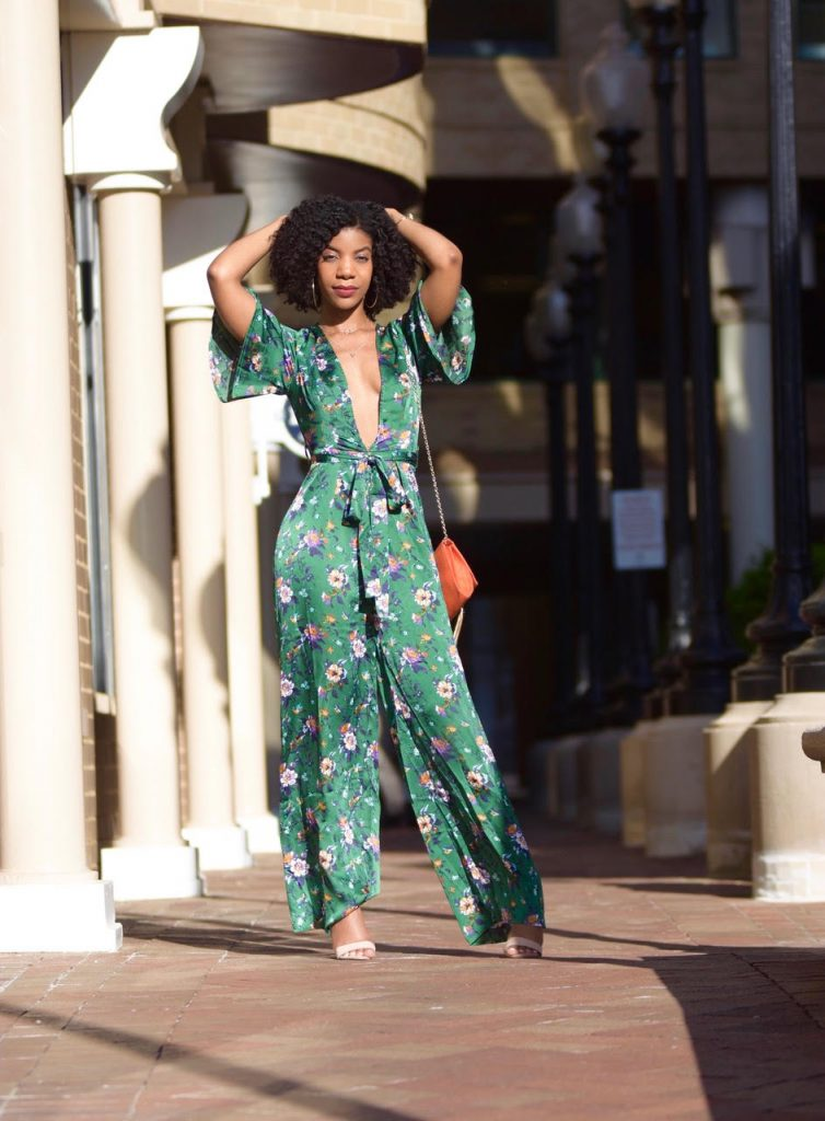 SheIn Green Floral Plunge Neck Self Belted Palazzo Jumpsuit
