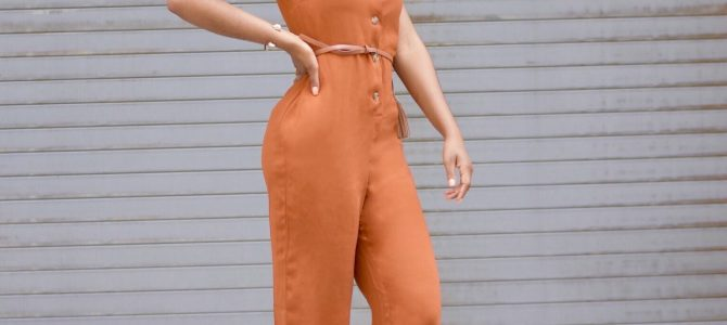 Spring/Summer Style: SheIn Orange Button Front Jumpsuit
