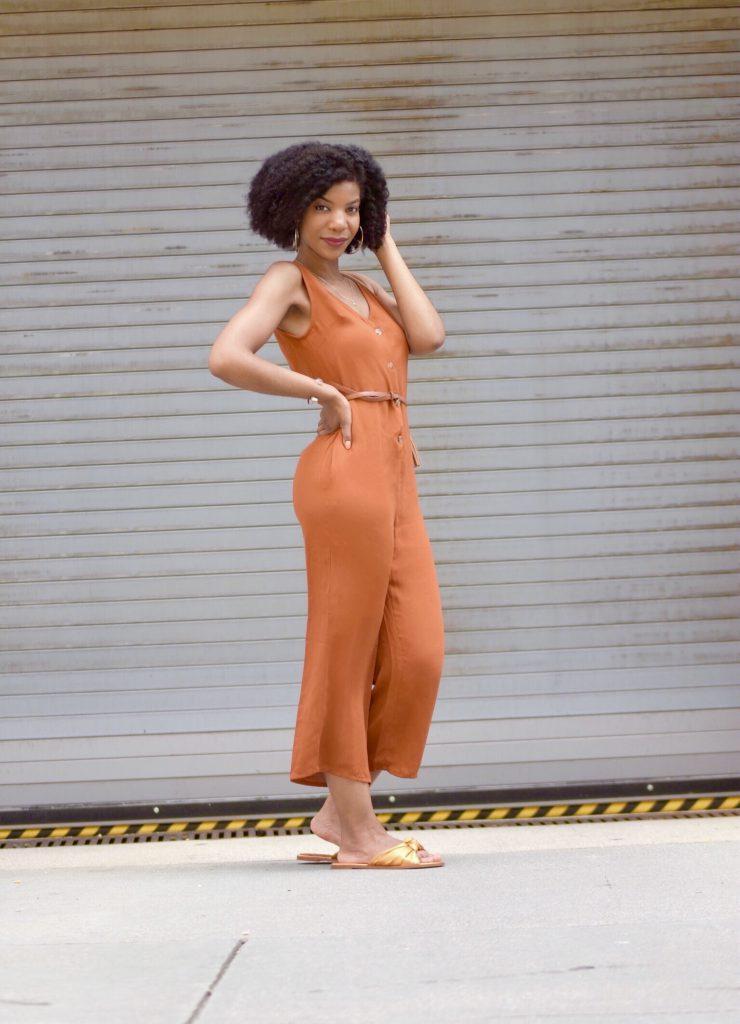 SHEIN Orange Button Front Pocket Side Jumpsuit5