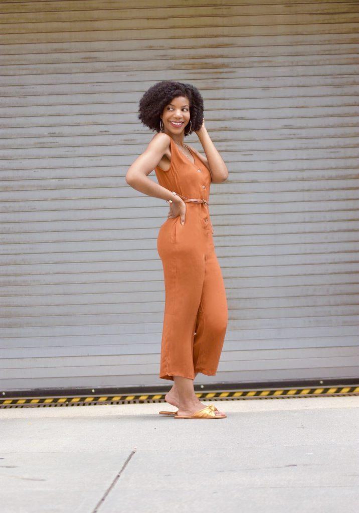 SHEIN Orange Button Front Pocket Side Jumpsuit6
