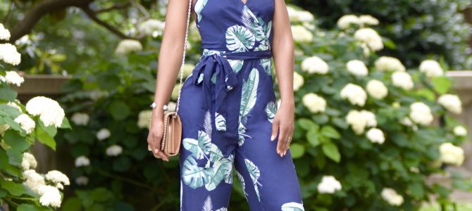 Summer Style: SheIn Navy & Green Floral Print Jumpsuit