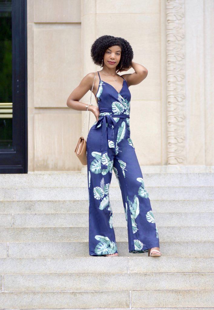 SHEIN Tropical Print Wide Leg Cami Jumpsuit