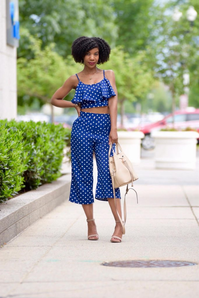 SHEIN Navy Blue Polka Dot Crop Cami Top And Palazzo Pants Set, Two Piece Co-Ord Set