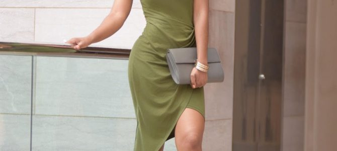 Summer Style: SheIn Army Green Sleeveless Knot Sheath Dress + Nude Heels