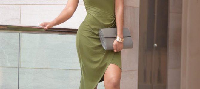 Summer Style: SheIn Army Green Sleeveless Knot Sheath Dress + Nude Heels