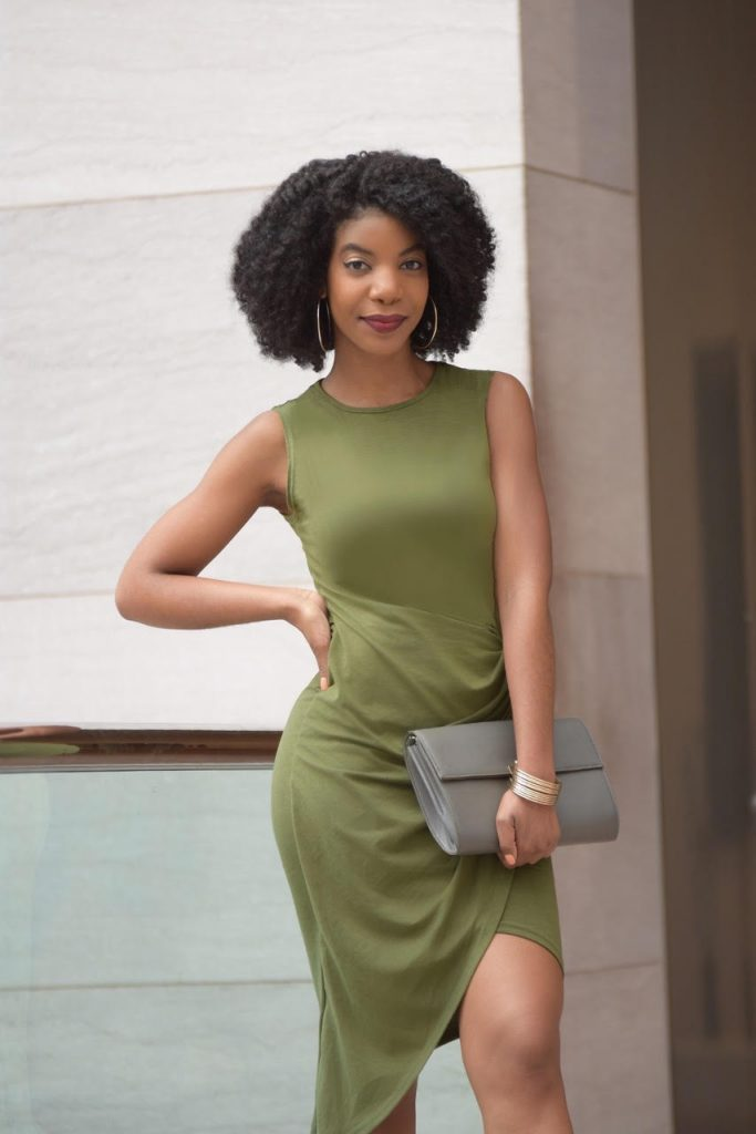 SHEIN Army Green Sleeveless Knot Sheath Dress, Midi Dress, Asymmetrical Mid Dress