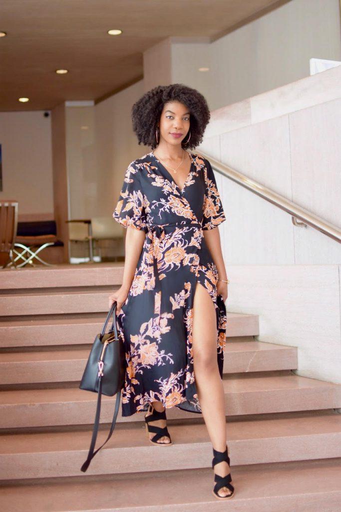 SheIn Surplice Front Florals Wrap Dress, Black and Orange Wrap Dress, Asos Black and Tan Block Heel Sandals, Black Purse with Strap